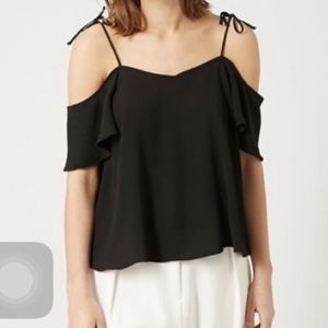 •Topshop• Black Cold Shoulder Tie Top🦋